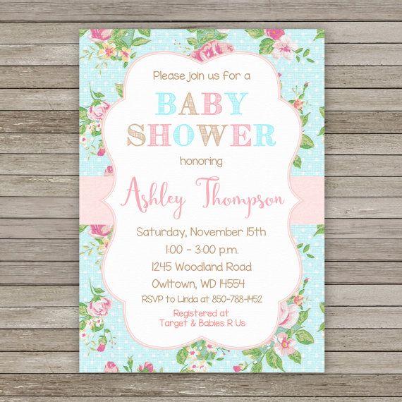 Shabby Chic Baby Shower Invitation Shabby by RainbowSweetStudio