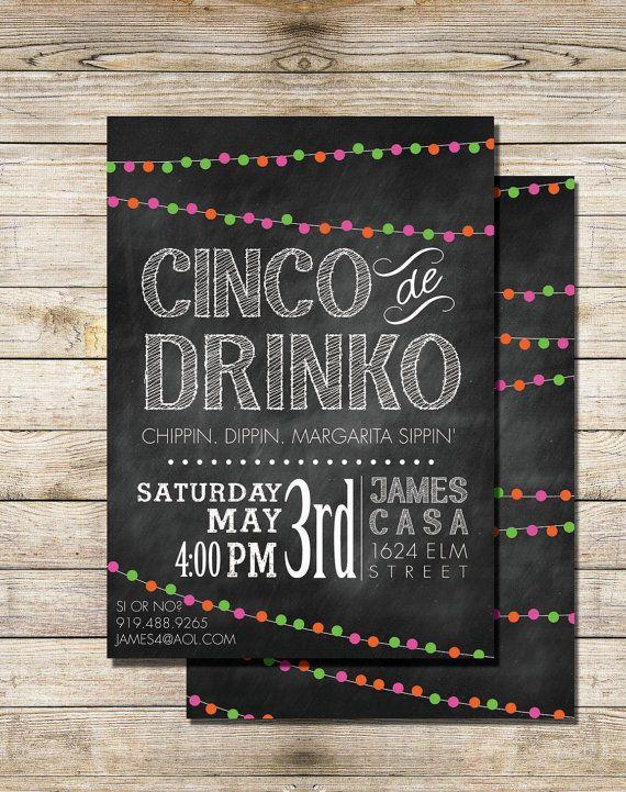 Cinco De Drinko Party Invitation, Cinco de Mayo Printable Invitation PRINTABLE CARD - Digital Printable Chalkboard Invitation Print, Modern on Etsy, $18.00