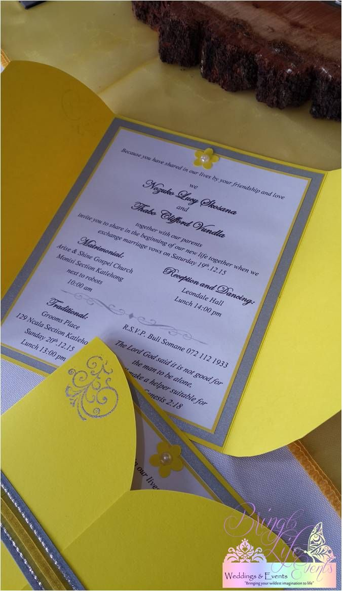 Yellow & silver wedding invitation with flower, pearl, heat embossing and ribbon