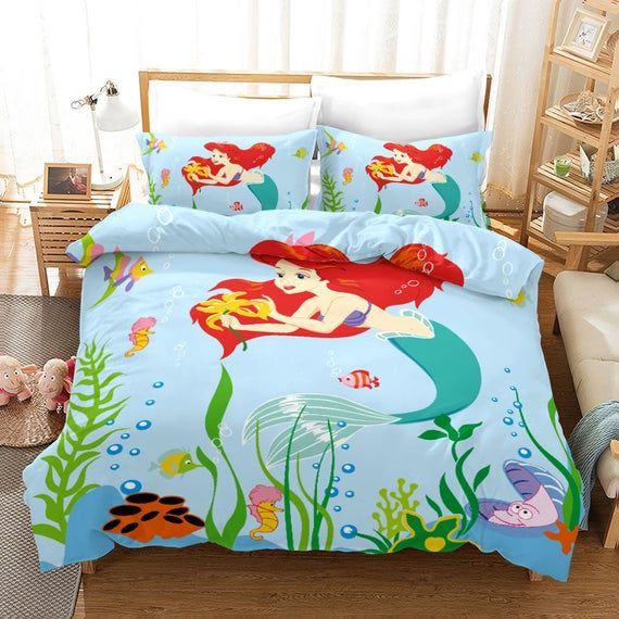 Mermaid Dovet Cover Sets Pillowcases Bedding Quilt Cover Comforter Cover Twin Full Queen Cal In 2021 Bedding Set Bedding Sets Quilt Cover