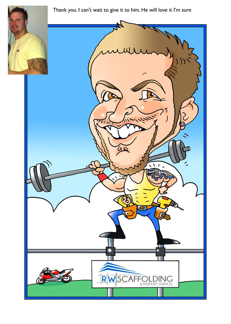 Caricature commission by girlfriend, brief was he likes the gym and his motorbike, runs a scaffolding Company.