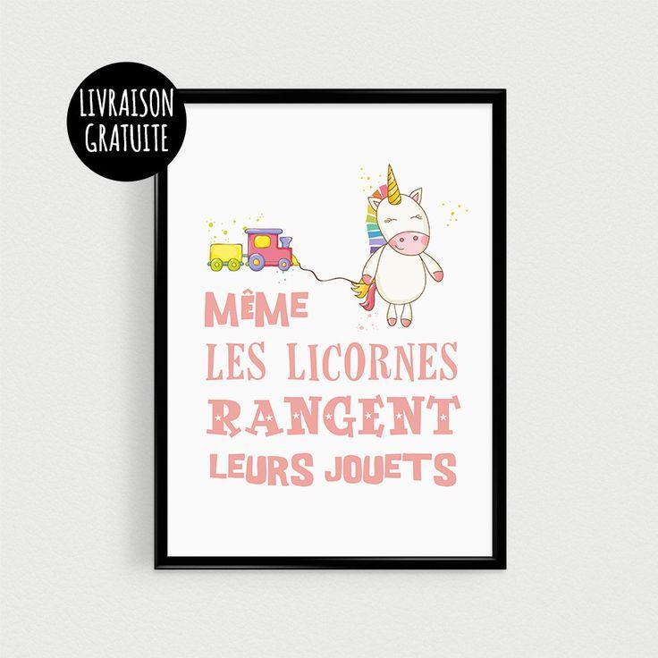 """Affiche citation Licorne pour chambre de bébé - Poster citation scandinave """"Même les licornes rangent leurs jouets"""""""