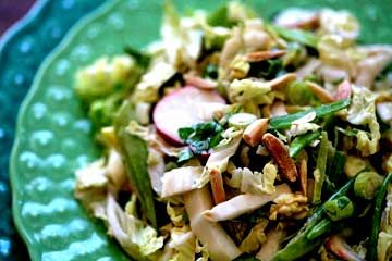 Napa Cabbage Picnic Salad by simplyrecipes: Made of Chinese napa cabbage, radishes, snow peas, toasted slivered almonds, and a sweet soy mayo dressing. #Salad #Napa #Healthy