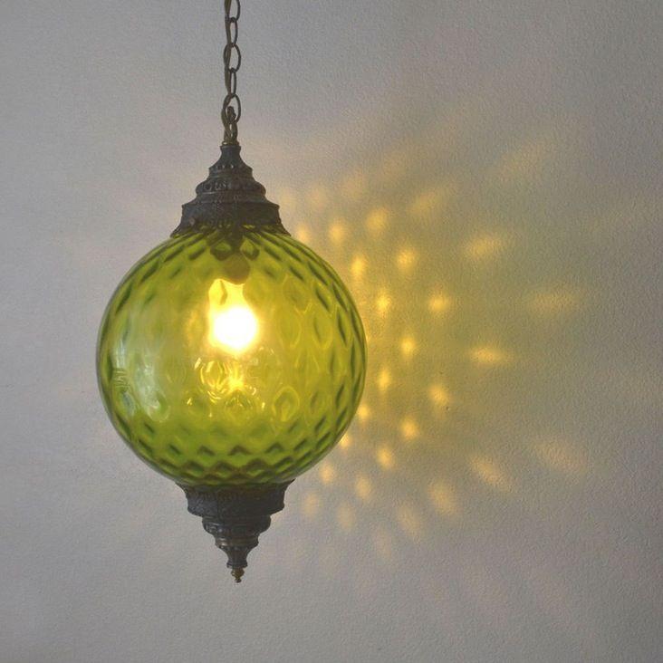 "Green Glass Hanging Swag Lamp / Retro Vintage 1960s / 12"" Globe  - Ultimate retro home decor - Large 12"" green glass globe hanging swag lamp - Ornate brass metal top and bottom - Met..."