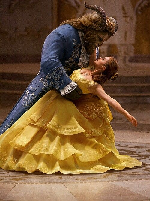 Belle and the Beast in Disney's upcoming, live-action retelling of Beauty and the Beast