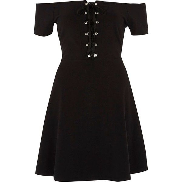 River Island Black bardot lace up front skater dress ($52) ❤ liked on Polyvore featuring dresses, black, skater dresses, women, mini skater dress, short sleeve dress, tall dresses, short sleeve mini dress and eyelet dresses