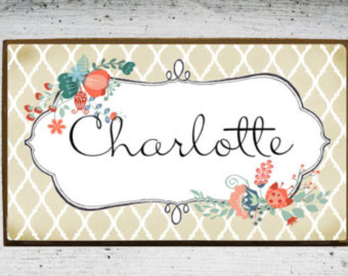 Door Plaque Door Sign Kids Room Sign Kids Name Plate Wooden Wood Name Plaque In Floral Personalized Nursery Sign With Kids Room Sign Door Signs Kids Signs