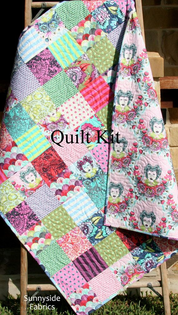 Last one tula pink baby quilt kit elizabeth free spirit for Purple baby fabric