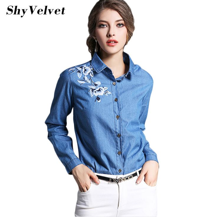 >> Click to Buy << 2017 new fashion denim shirt women's long sleeve denim blouse embroidered denim shirts female vintage Jeans blouse casual tops #Affiliate