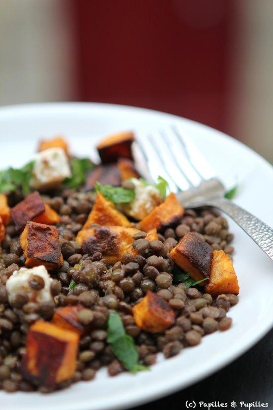 Recette de Salade de lentilles aux patates douces grillées et à la féta