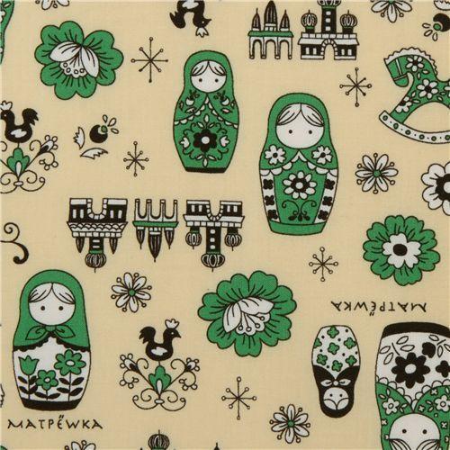 yellow matryoshka dolls Kokka fabric Japan babushka 1