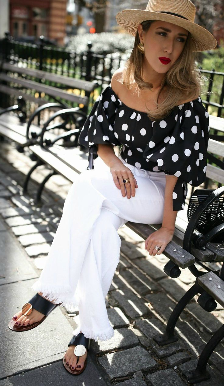 49878d98447 Polka dots + white denim // Black and white polka dot off the shoulder top,  white flare raw hem denim jeans, black cult gaia bag, straw boater hat, ...