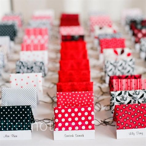 Love this.  These place cards are home-made fabric bags for wedding guests to use at the candy bar.