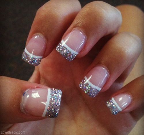 Christmas Nail Designs With White Tips: Glitter French Tip Nails Pictures, Photos, And Images For