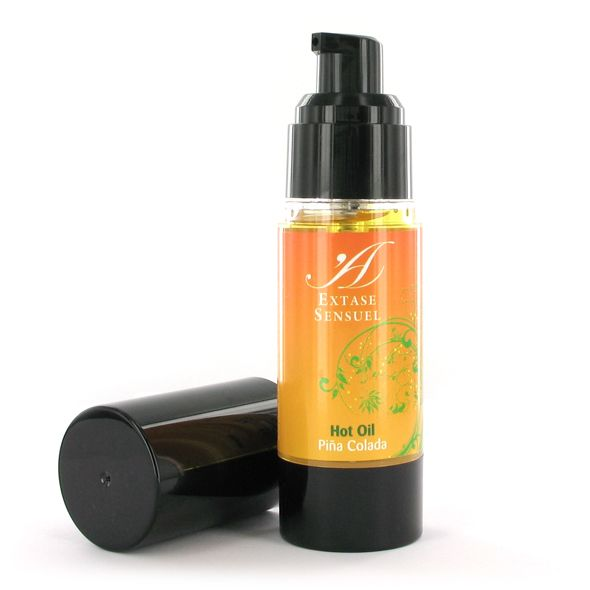 Hot oil with Piña Colada scent for more pleasure and sensations at your favorite erogenous zones. You can feel how the temperature of the body rises and the diverse exotic flavors becomes more intense. Compatible with latex. This cosmetic product is for external use only. The oil is kept in an airle