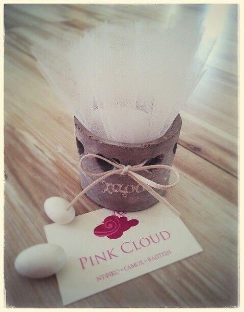 Μπομπονιερα#pink cloud#ρεσω#τουλι#δερματινη κορδελα#αγαπη#vintage