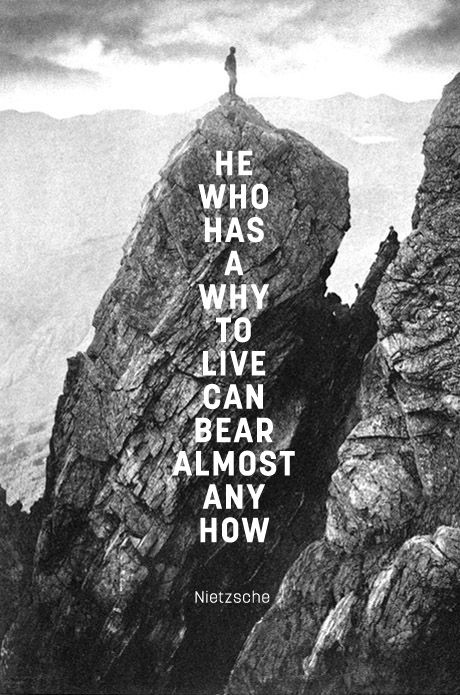 """He who has a why to live can bear almost any how"" means that a person who has found a purpose in life can overcome any obstacle in their path. If you know why your life (and what you've chosen to do in life) is important, you can suffer but you will never doubt the reason you are here, and you will keep going. Those who understand why they are here will in the end always always figure out a way to accomplish their goals. Share on Facebook!"