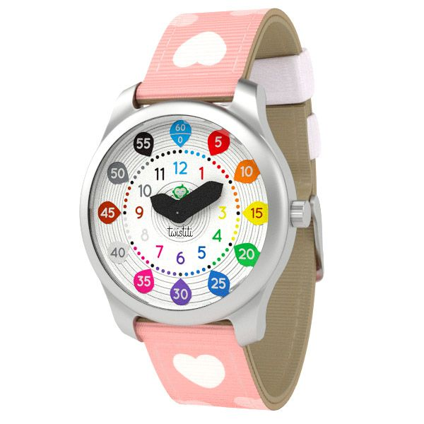 Educational Twistiti Watch for kids with Numbers dial and Hearts strap. Check all the colourful collection here: www.twistiti.com