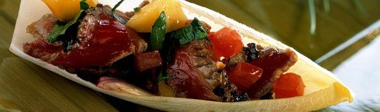 This recipe features a great combination of flavours — ginger flavoured beef steak with the fresh tart flavours of the mango salsa. APPETIZER BITES: Tuck strips of steak into individual endive leaves and top each with some Mango Salsa. Or serve on a buffet as a warm main course salad. #CanadianBeef #Steak