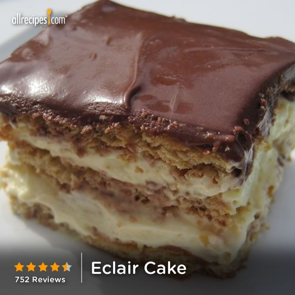 "Eclair Cake | ""This is such a hit in my house! I have 3 small boys and a husband with a sweet tooth and this cake is cheap, easy, and it makes a whole lot!"""