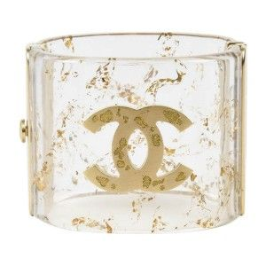 Shop Chanel Clear & Metallic Gold Resin Glittered 'CC' Cuff Bracelet