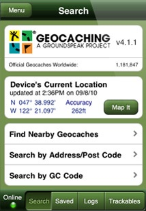 Geocaching app for the iPhone.  My kids love this educational hobby!
