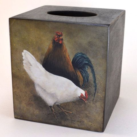 Some of our favorite chickens, on our Hen and Rooster Tissue Box Cover | Wooden tissue box cover, folk art – Dogwood Box