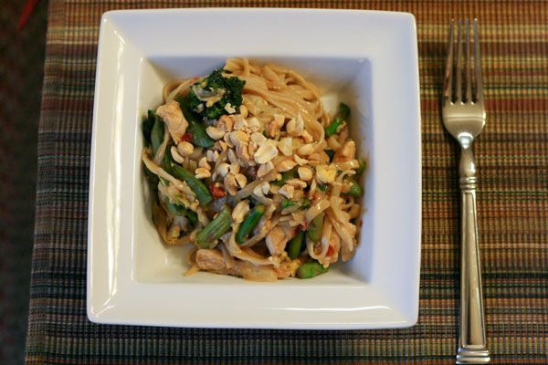 Thai Peanut Noodles. Cut the chili garlic paste in half and this was ...