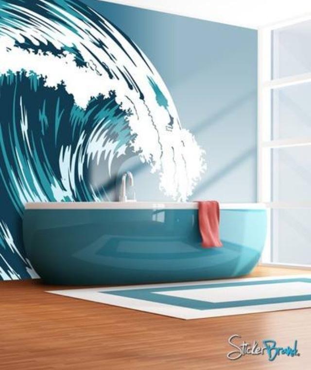 Ocean Wave Mural, Graphic Crashing Surf, 30 Modern Bathroom Decor Ideas,  Blue Bathroom Colors And Nautical Decor Themes