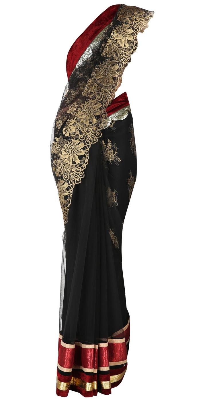 Varun Bahl - black, red, gold sari