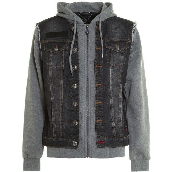 Mirrow Denim and Jersey Jacket ($1,103) ❤ liked on Polyvore featuring men's fashion, men's clothing, men's outerwear, men's jackets, grey, mens grey jacket, mens zip jacket, mens hooded denim jacket, mens short sleeve jacket and mens gray leather jacket