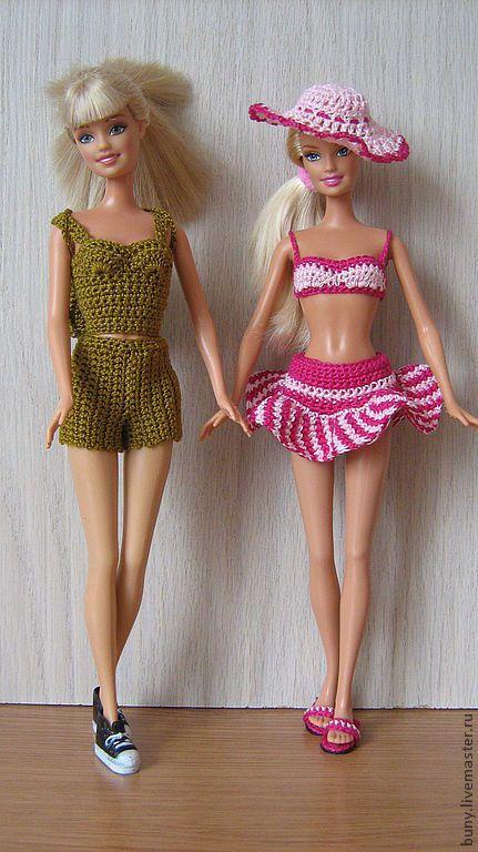 Купить летний комплект с рюкзаком - хаки, одежда для кукол, одежда для барби, кукольная одежда