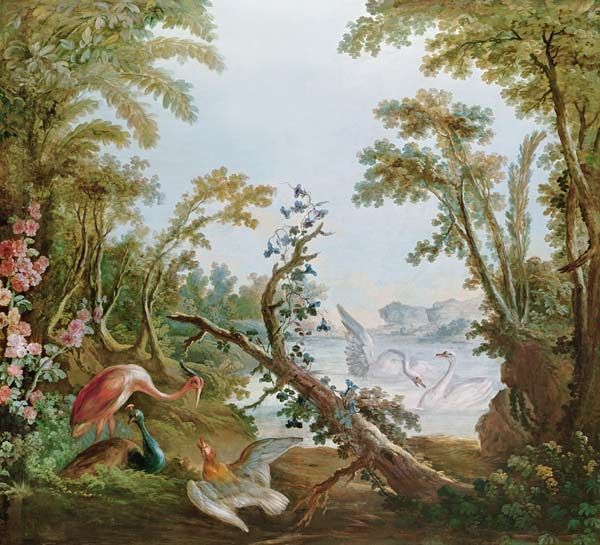 François Boucher-Lake with swans, a flamingo and various birds, from the salon of Gilles Demarteau
