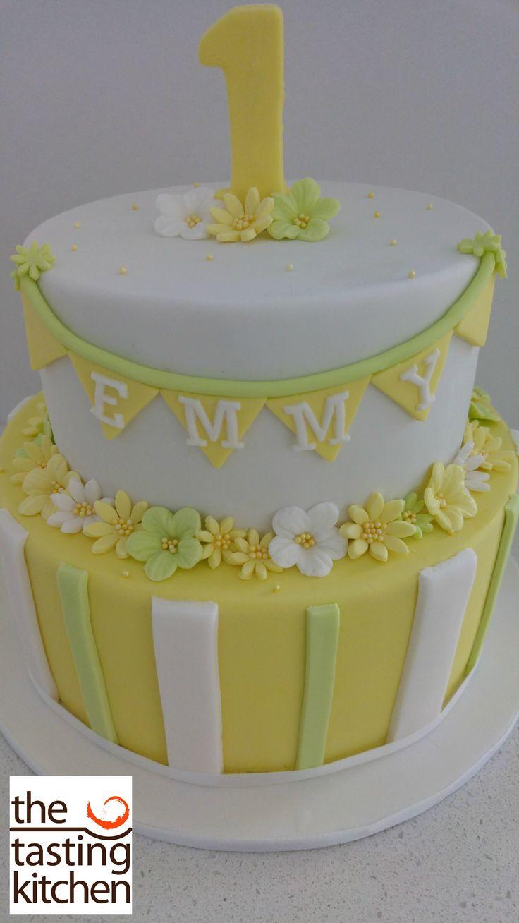 2 Tier, 1st Birthday Cake, Yellow and White