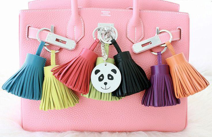 Pink Hermes Birkin bag and Carmen bag charms.