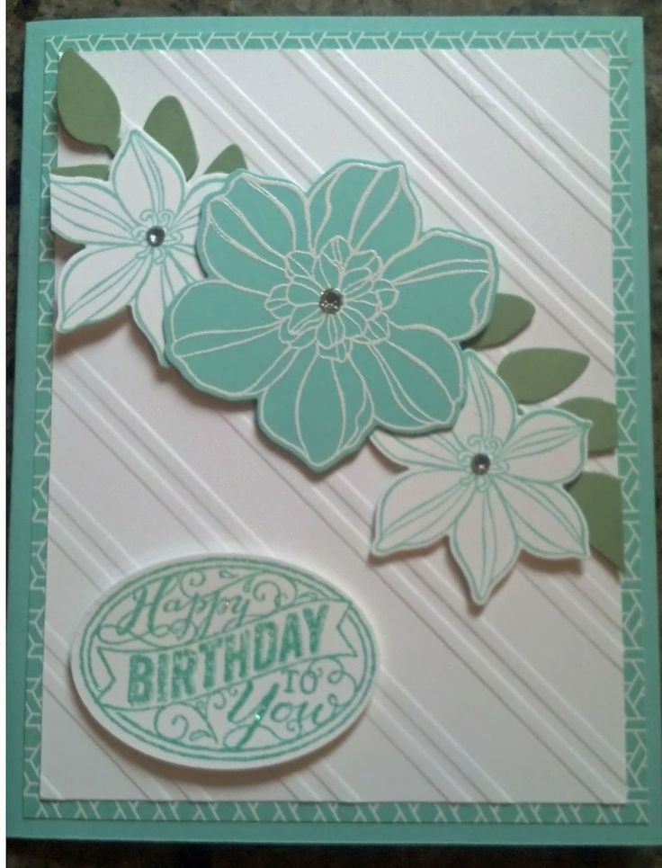 Birthday Card using Flower Shop stamp set and Secret Garden framelits from Stampin' Up!
