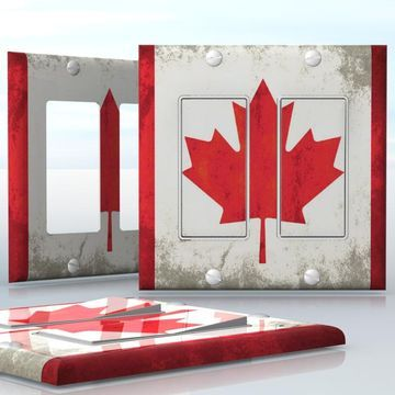 DIY Do It Yourself Home Decor - Easy to apply wall plate wraps   Grunge Canadian Flag  Old Canadian flag pattern  wallplate skin sticker for 2 Gang Decora LightSwitch   On SALE now only $4.95