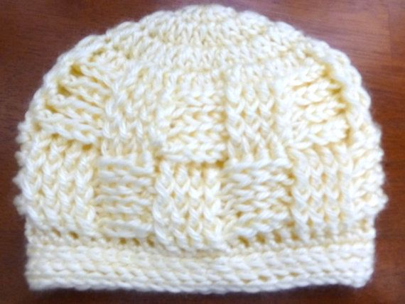 Basket Weave Beanie 0 to 3 Months by TheBlueLantern on Etsy, $15.00