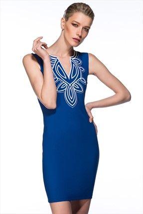 Milla by trendyol - Bohem Şıklığı - Nakışlı Saks Elbise MLWSS142527 %56 indirimle 69,99TL ile Trendyol da