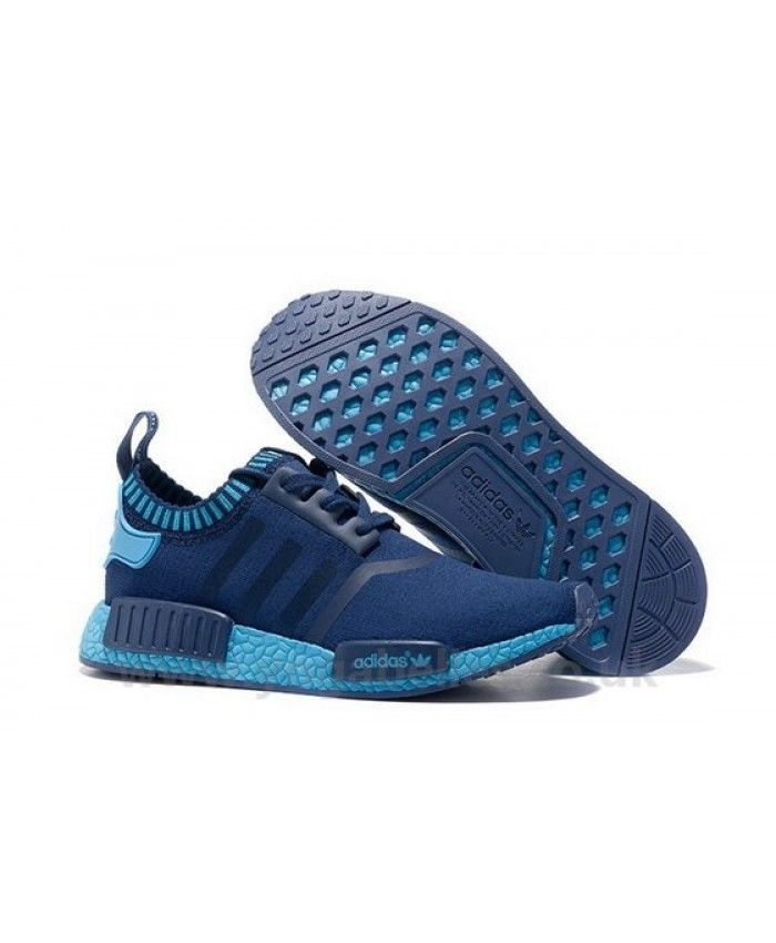 3ece4e706ad8f Adidas NMD Runner Primeknit Trainers In Navy and Light Blue