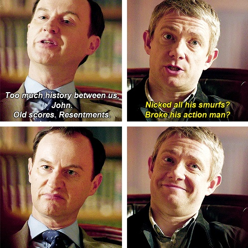 John Watson and Mycroft Holmes making faces for the win.