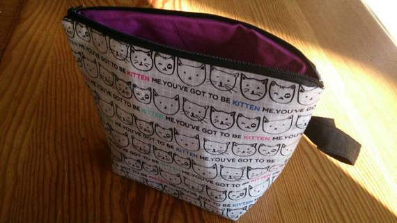 Knitting Project Bag  Cats/Kittens  You Have by thingsbylengleng