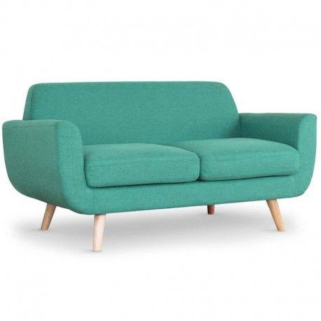 Sofa estilo escandinavo Danubio 2 plazas tela azul