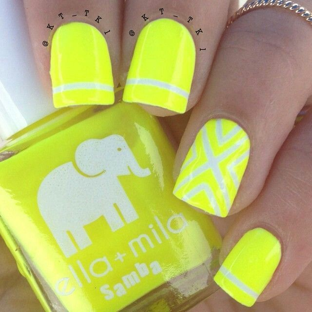 Neon yellow and white nailart - Top 25+ Best Neon Yellow Nails Ideas On Pinterest Neon Nails