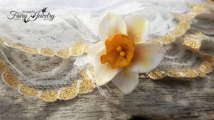 Anello narciso fiore pasta polimerica fimo regolabile anallergico filigrana argentato, by Evangela Fairy Jewelry, 7,00 € su misshobby.com