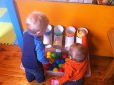 I had a whole bunch of balls that the kids just threw around the daycare.. We needed a purpose for them, so I made colour tubes! I went to the hardware store and picked up these bends I think for p...