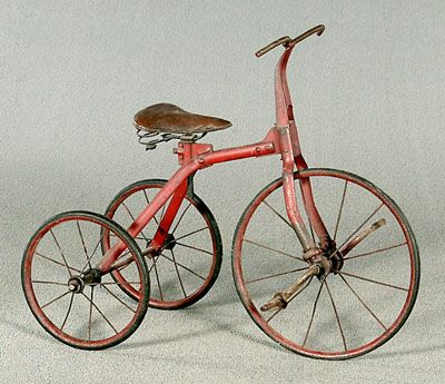 Tricycle, original adjustable leather seat with springs, hard rubber spoked wheels