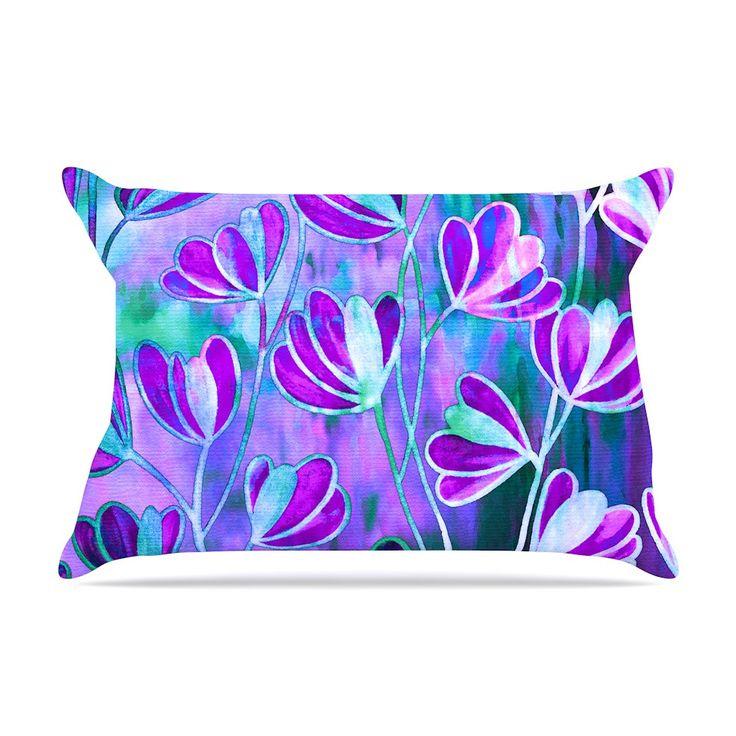 """Ebi Emporium """"Efflorescence - Lavender Blue"""" Teal Purple Pillow Case"""