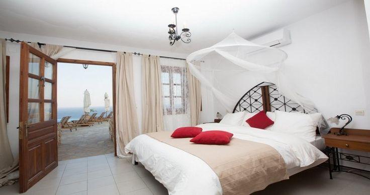 "Your bedroom... Check ""Villa Sophias"" - Patmos, Greece ! You can rent it ! #luxury #villa #rent #holidays #greece #vacances #grece #alouer #aroomwithaview #sea #bedroom #decoration #swimmingpool #beautiful"