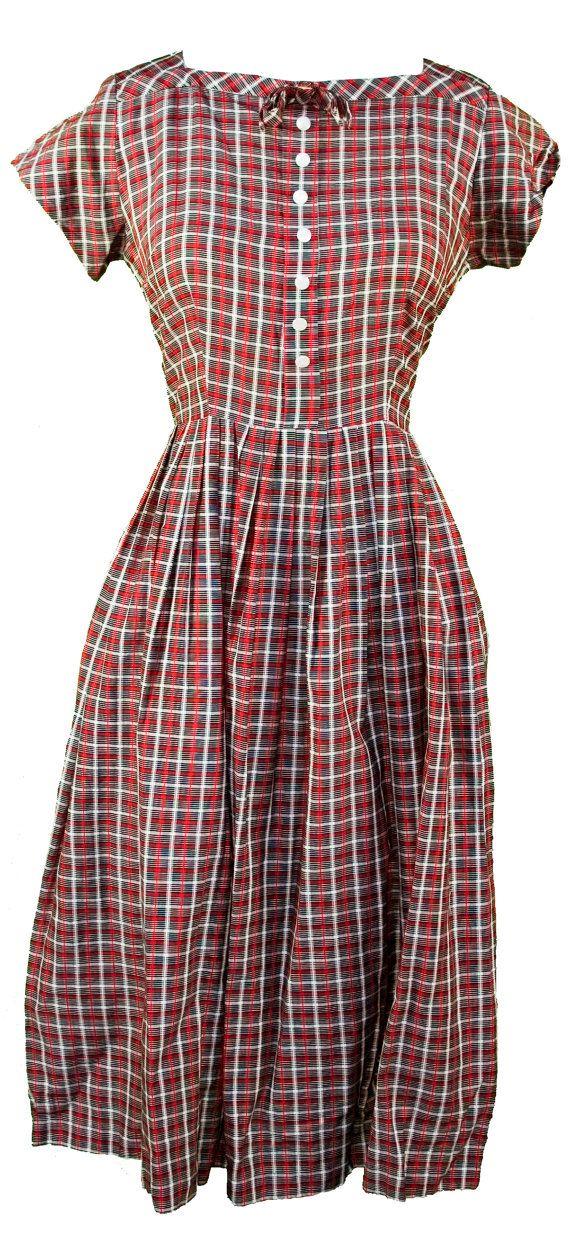 1950s Medium Dress Gingham Plaid Checked Rockabilly Retro Cute Kawaii Lolita Baby Doll Mod Pin Up House Wife I Love Lucy Madmen June Cleaver
